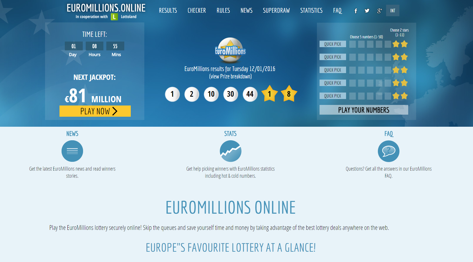 EuroMillions online site