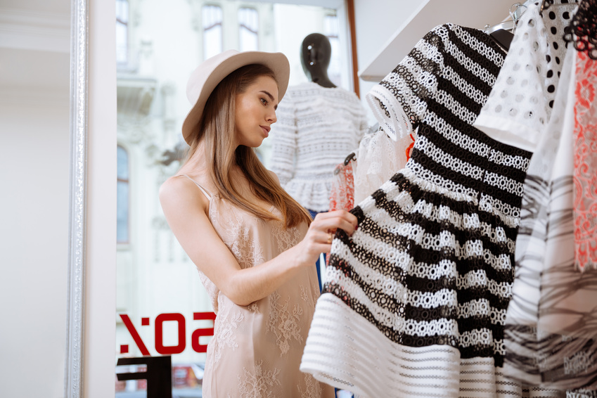 Young lady shopping for clothes