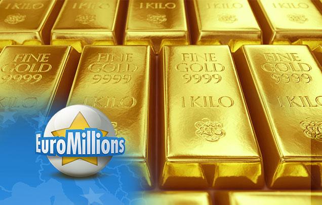 EuroMillions Logo vor Goldbarren