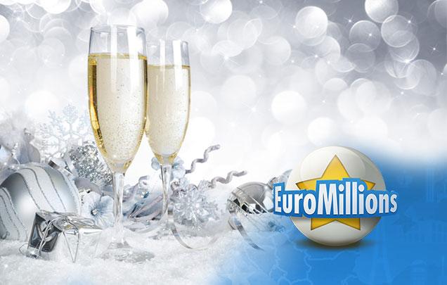Zwei Sektgläser zum Jahreswechsel der EuroMillions